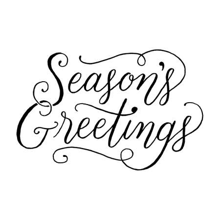Seasons Greetings Hand Lettering - message isolated on a white background