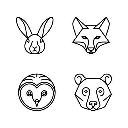 Monoline Animal Faces: Set of 4 Monoline Animal Faces - Fox, Hare, Bear, Owl Vectores