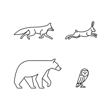 Monoline Animals: Set of 4 Monoline Animals - Fox, Hare, Bear, Owl Ilustração