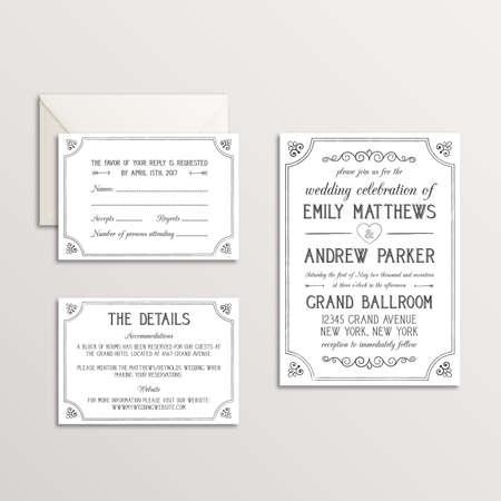 Vintage Wedding Invitation Suite - Invitation, RSVP, Details Card Ilustração Vetorial