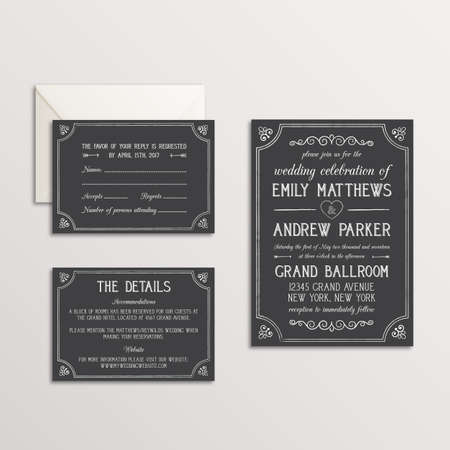 Chalk Wedding Invitation Suite - Invitation, RSVP, Details Card