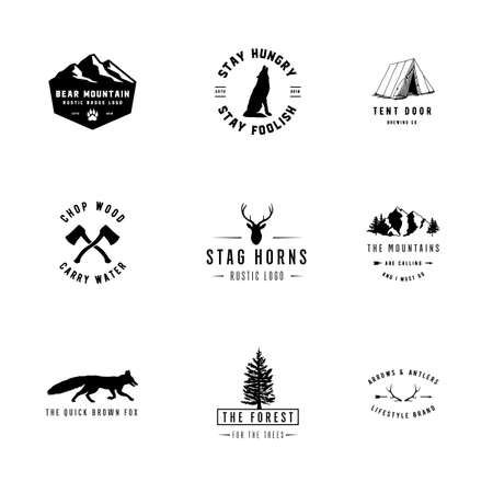 Rustic Logos - Set of 9 rustic logo templates. Designs for the outdoors and nature Stock Vector - 98604688
