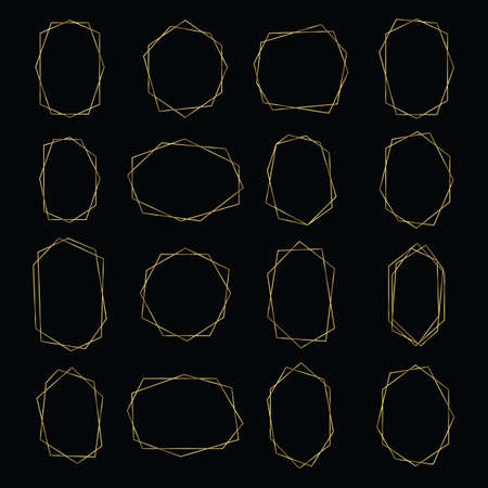 Gold Geometric Frames - Set of asymmetrical geometric frames