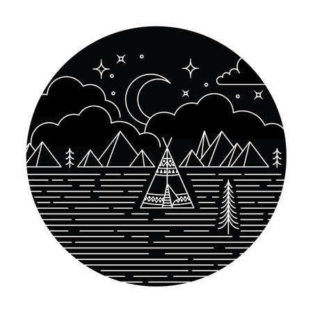 Teepee Monoline Design  - Rustic monoline design background. Teepee, trees and mountains at night under moon, stars and clouds.