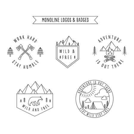 Rustic Monoline Badges - Set of rustic monoline badge and logo designs depicting nature and the great outdoors.