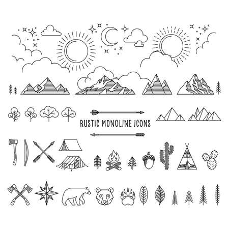 Rustic Monoline Set - Huge set of rustic monoline icon designs depicting nature and the great outdoors.