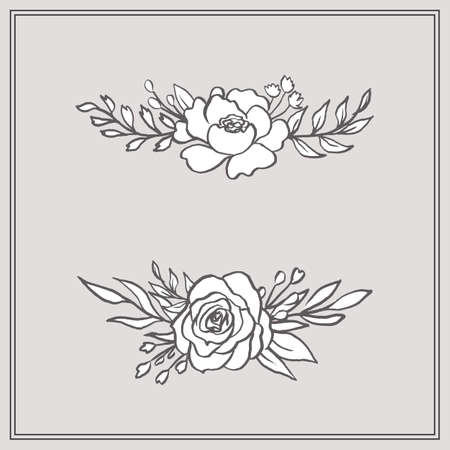Doodle Floral Bouquets - Set includes two beautiful floral bouquets. These designs have lush flowers and foliage, and were sketched by hand before being vectorized. Ilustração