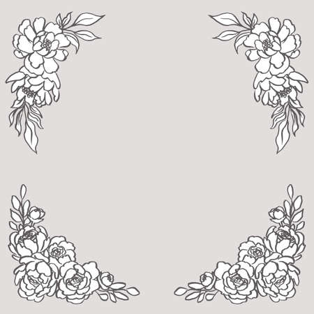 Doodle Floral Corner Bouquets - Set includes two beautiful floral bouquets. These designs have lush flowers and foliage, and were sketched by hand before being vectorized. Ilustração