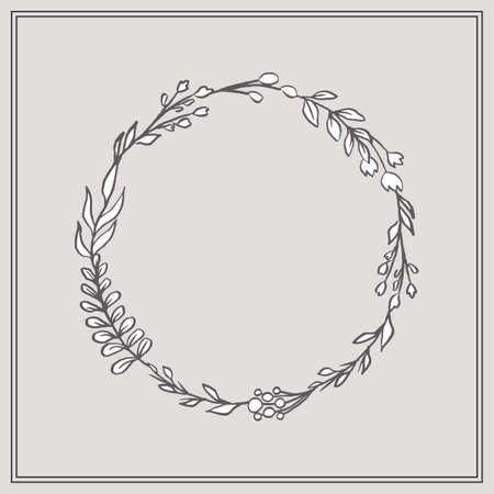 Doodle Floral Wreath - Beautiful floral wreath. This design has lush flowers and foliage, and were sketched by hand before being vectorized.