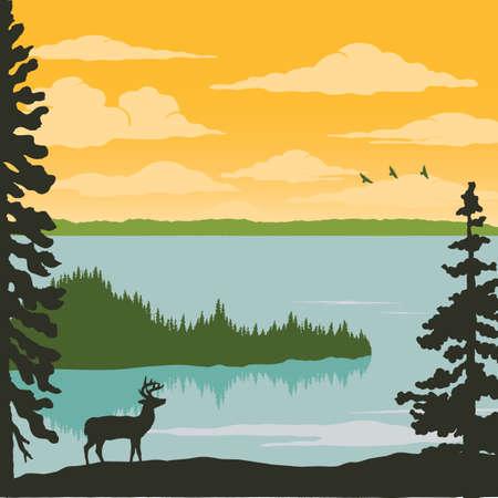 Vintage Nature Poster - Elk at Lake; Nature scene illustration with elk, lake trees, birds, and clouds. Ilustração