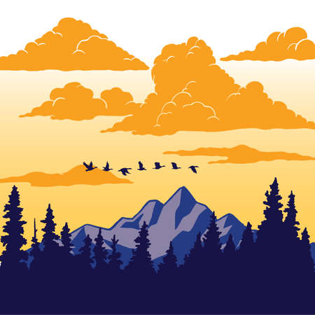Vintage Nature Poster - Birds flying over mountain; Nature scene illustration with mountain, trees, birds, and clouds. Ilustração