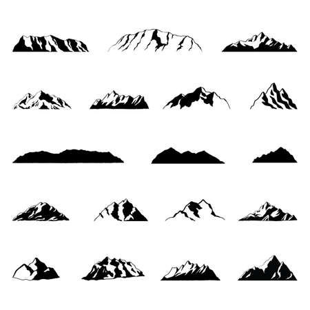 Mountain Illustrations; Illustrations of mountains, isolated on white background.
