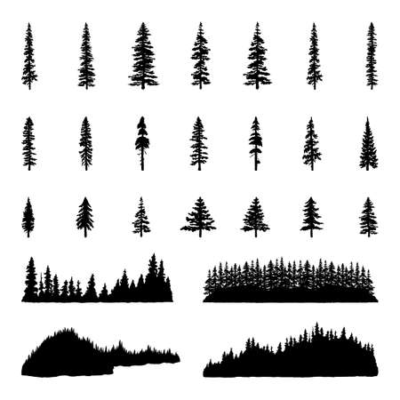 Tree Silhouettes; Hand drawn illustrations of trees, tree lines, and forests.