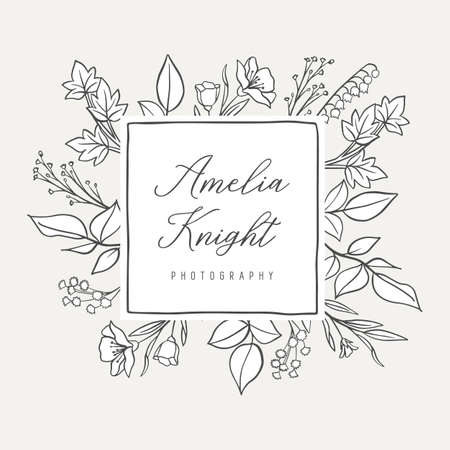 Botanical Illustration Premade logo  -  Botanical logo design with hand drawn illustrations and frame. The elements can be separated and rearranged or used individually.