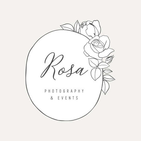 Botanical Rose Logo Illustration  -  Botanical logo design with hand drawn roses and frame. The elements can be separated and rearranged or used individually.