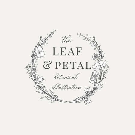 Botanical Wreath Illustration Premade logo - Botanical wreath design with hand drawn illustrations. The elements can be separated and rearranged or used individually.