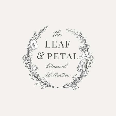 Ilustracja botaniczna wieńca Gotowe logo - projekt wieńca botanicznego z ręcznie rysowanymi ilustracjami. Elementy można rozdzielać i przestawiać lub stosować pojedynczo. Logo