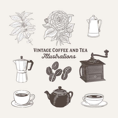 Vintage, antique style  of coffee and tea