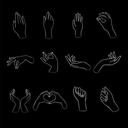 Women's hands doing different gestures