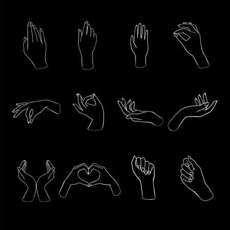 Women's hands doing different gestures
