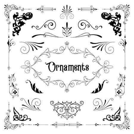 Vintage Ornamente - Eine Reihe klassischer Ornamente im viktorianischen Stil. Vektorgrafik