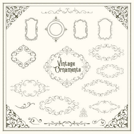 Vintage Ornaments - A set of classic, victorian style ornaments.  イラスト・ベクター素材