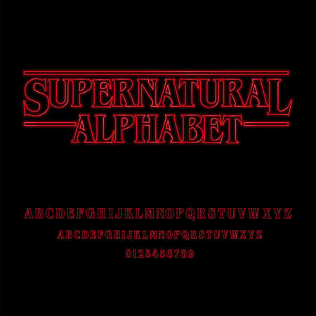 Supernatural Alphabet With Red Glowing Letters � Red glowing alphabet. Stock Illustratie