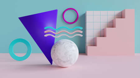 3d rendered  with geometric shapes