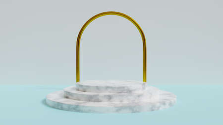Abstract, 3d rendered blue  with marble podium and gold arch