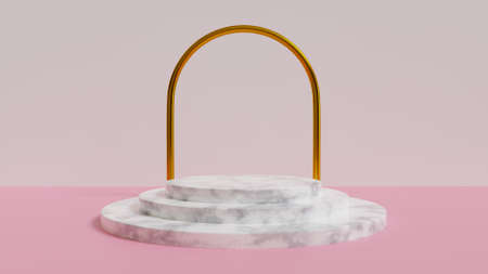 Abstract, 3d rendered pink  with marble podium and gold arch Stok Fotoğraf
