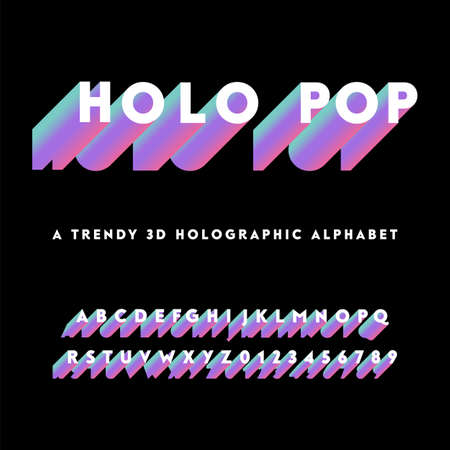 Holographic Alphabet - Holographic alphabet with colorful 3D letters.