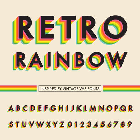 Retro Rainbow Alphabet - Retro rainbow alphabet with colorful 3D letters.