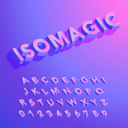 Colorful Isometric Alphabet - ISOMAGIC is an isometric sans serif alphabet with colorful 3D letters.