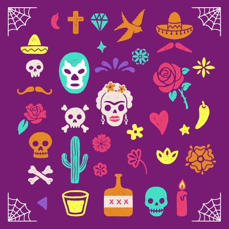 Vintage Day of the Dead graphics Banco de Imagens - 129636588