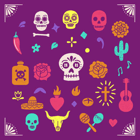 Vintage Day of the Dead graphics Banco de Imagens - 129636586
