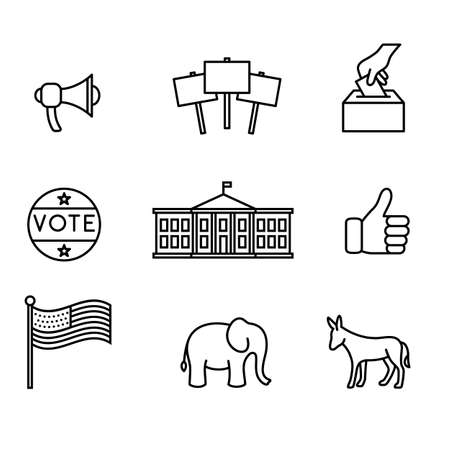 Election icons - Set of political icons in a simple, monoline style. Ilustração
