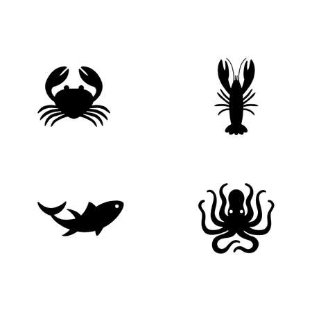 Seafood Icons - 4 seafood icons in a simple style: crab, lobster, tuna, octopus