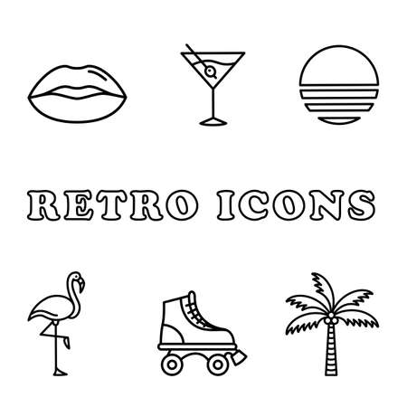 Retro Icon Set - Retro icons in a monoline style. This 80s style icon set