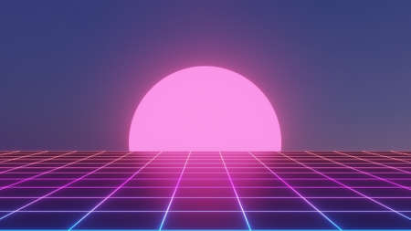 Sci-Fi grid  (gradient grid) - 80s style neon