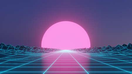 Sci Fi grid  (spiky grid) 80s style neon Stok Fotoğraf