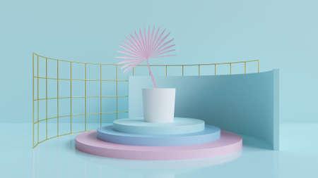 3D rendered  illustration in pastel colors
