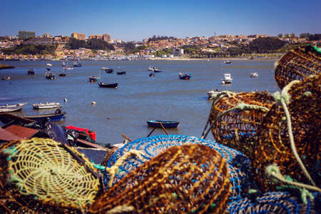 Fishing traps and anchored boats in Porto, Portugal