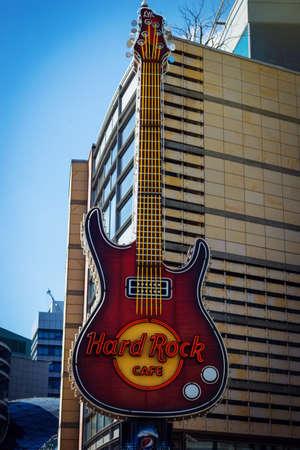 WARSAW POLAND - 21.04.2016: Guitar, the symbol of Hard Rock Cafe in Warsaw