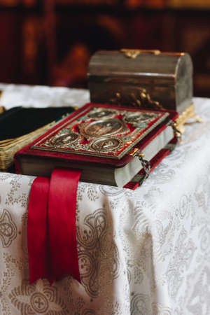 An old church book in the Orthodox Church 版權商用圖片