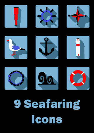 seafaring: Flat icons set with seafaring symbols