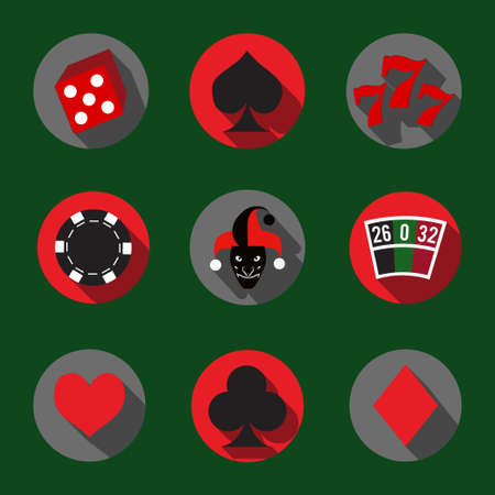 Flat icons set with casino symbols Vector