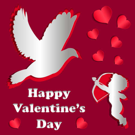 3d dove: Valentines day card with paper effect