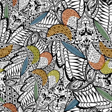 ine: Vector illustration. Seamless pattern of leaves.