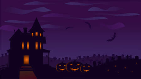 Halloween background with old house, pumpkins, bats, graves. Halloween darkness night banner with Jack-o-Lantren Illustration