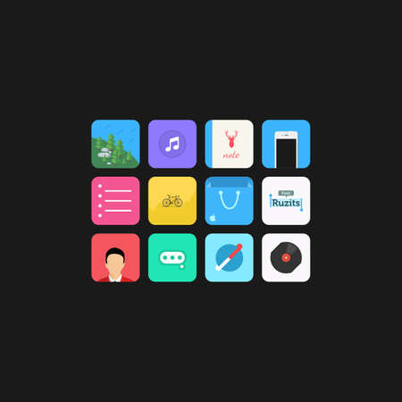 Sweet flat icon pack for phone theme Ilustração